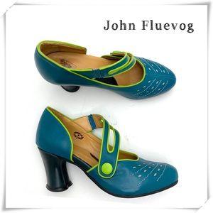 John Fluevog Look Out Allure Mary Jean Heel Green